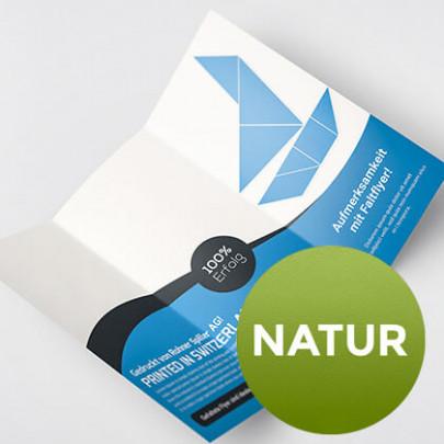 Faltflyer natur - Auf Recycling- oder naturweissem Papier