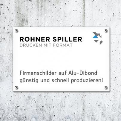 Firmenschild auf Alu-Dibond bei Rohner Spiller