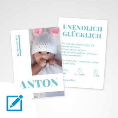 Geburtskarte A5 Blau Sonnenschein