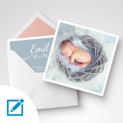 Geburtskarten quadratisch Boy