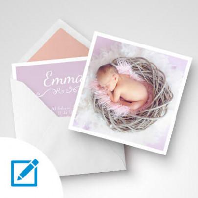 Geburtskarten quadratisch Girl