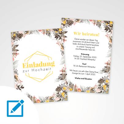 Hochzeitseinladung A5 Rahmen