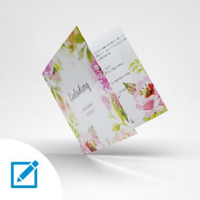 Hochzeitskarte quadratisch Blumen-Motiv