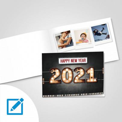 Neujahrsfaltkarte A5 quer in verschiedenen Designs selber gestalten