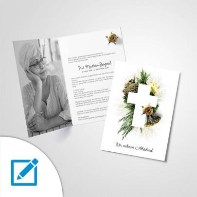 Trauerkarte A5 hoch Abschied Motiv Bouquet