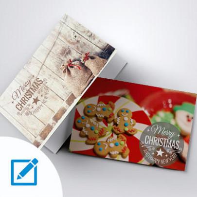 Weihnachtskarte A5 quer mit Vorlagen