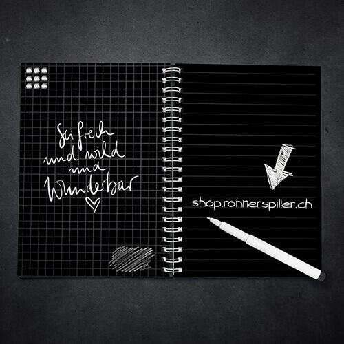 Notizbücher in Weissdruck