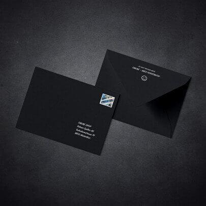 Kuverts in weiss gedruckt
